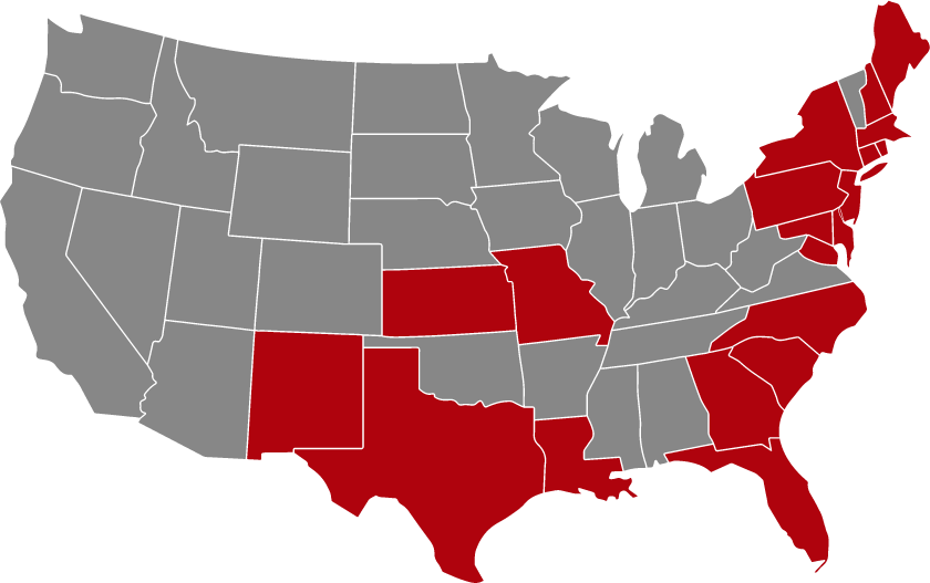 US Map with Red States showing where First Hartford has developed